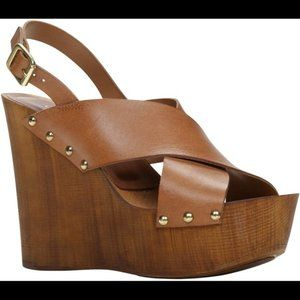 Aldo Celaria platform wooden wedge leather straps